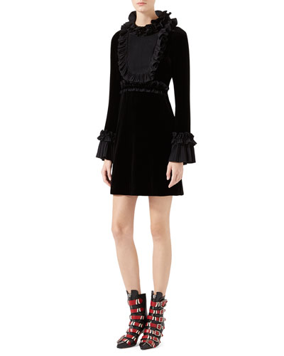 Velvet Long-Sleeve Dress, Black