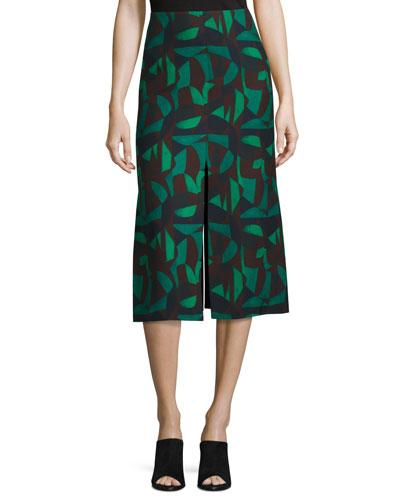 Garden-Print A-Line Skirt, Green