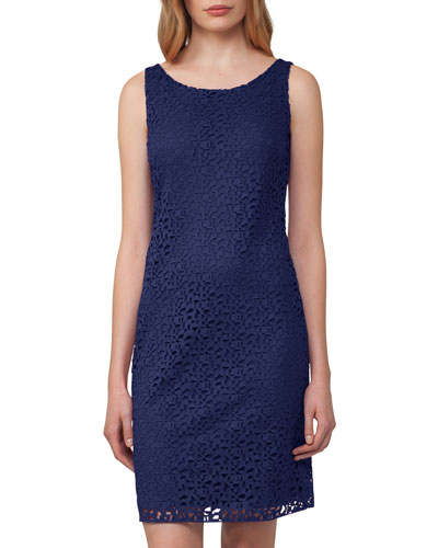 Sleeveless Lace Shift Dress, Blue