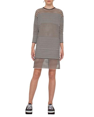 Striped 3/4-Sleeve Shift Dress, Black