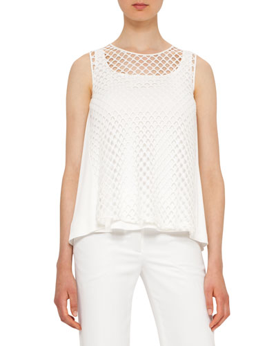 Sleeveless Layered Mesh Top, Cream