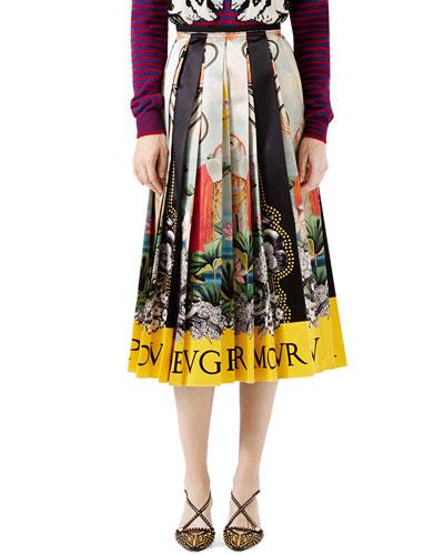 Elephant & Waterlily-Print Skirt