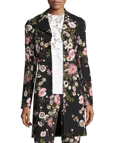 Bouquet-Print Mid-Length Coat, Black