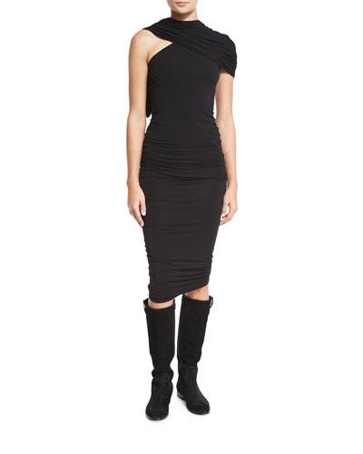 One-Shoulder Jersey Scarf Dress, Black