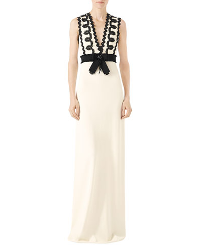 Sleeveless Jersey V-Neck Gown with Lace Trim, White/Black