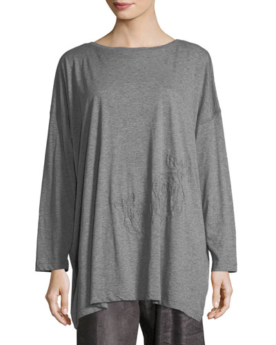 Long-Sleeve Embroidered Pima Cotton Top