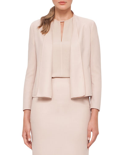 Cropped Double-Face Wool Jacket, Neutral