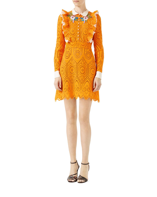 San Gallo Lace Dress Dress, Orange