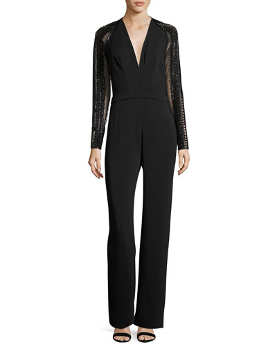 Sequined Long-Sleeve Crepe Jumpsuit