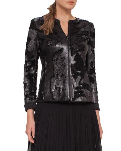 Harmony Sequined Zip-Front Jacket, Black