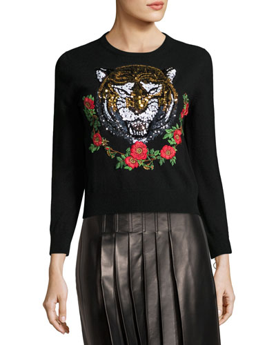 Tiger-Embroidered Cashmere Sweater, Black