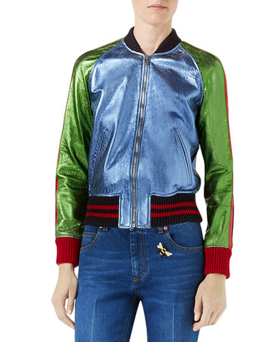 Metallic Leather Bomber Jacket with Snake Patch, Multi