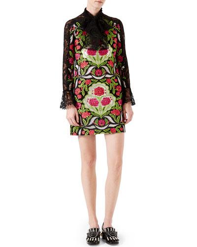 Floral Brocade Dress with Lace Details, Black/Acid Green