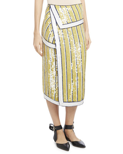Sequin-Striped Trompe l'Oeil Skirt, Yellow/Blue