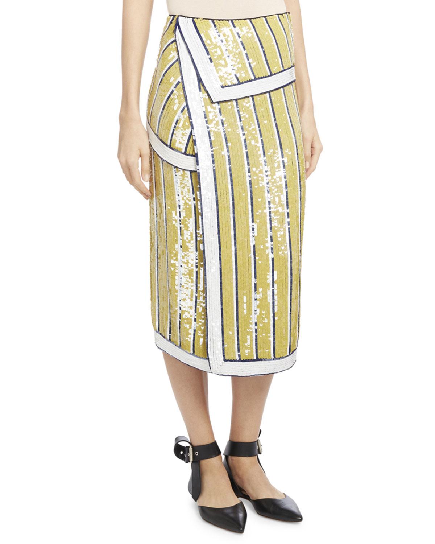 Sequin-Striped Trompe l'Oeil Skirt, Yellow/Blue