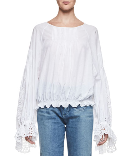 Pineapple-Embroidered Cotton Blouse, White