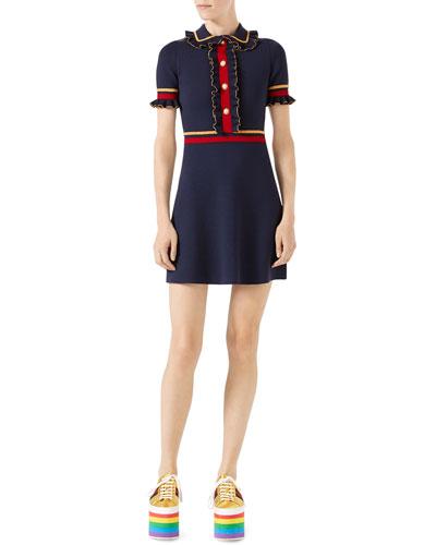 Short-Sleeve Stretch-Wool Polo Dress, Blue