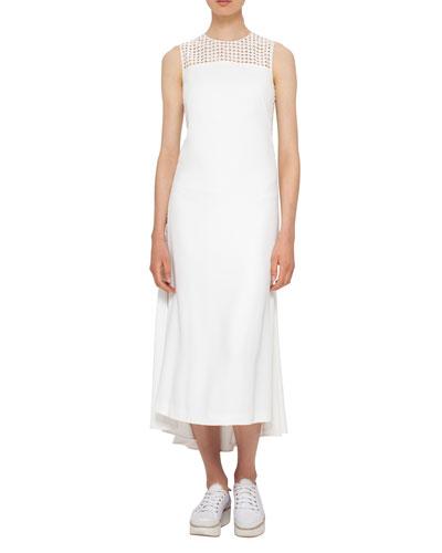 Punto Dot Ruffle-Back Midi Dress, Cream