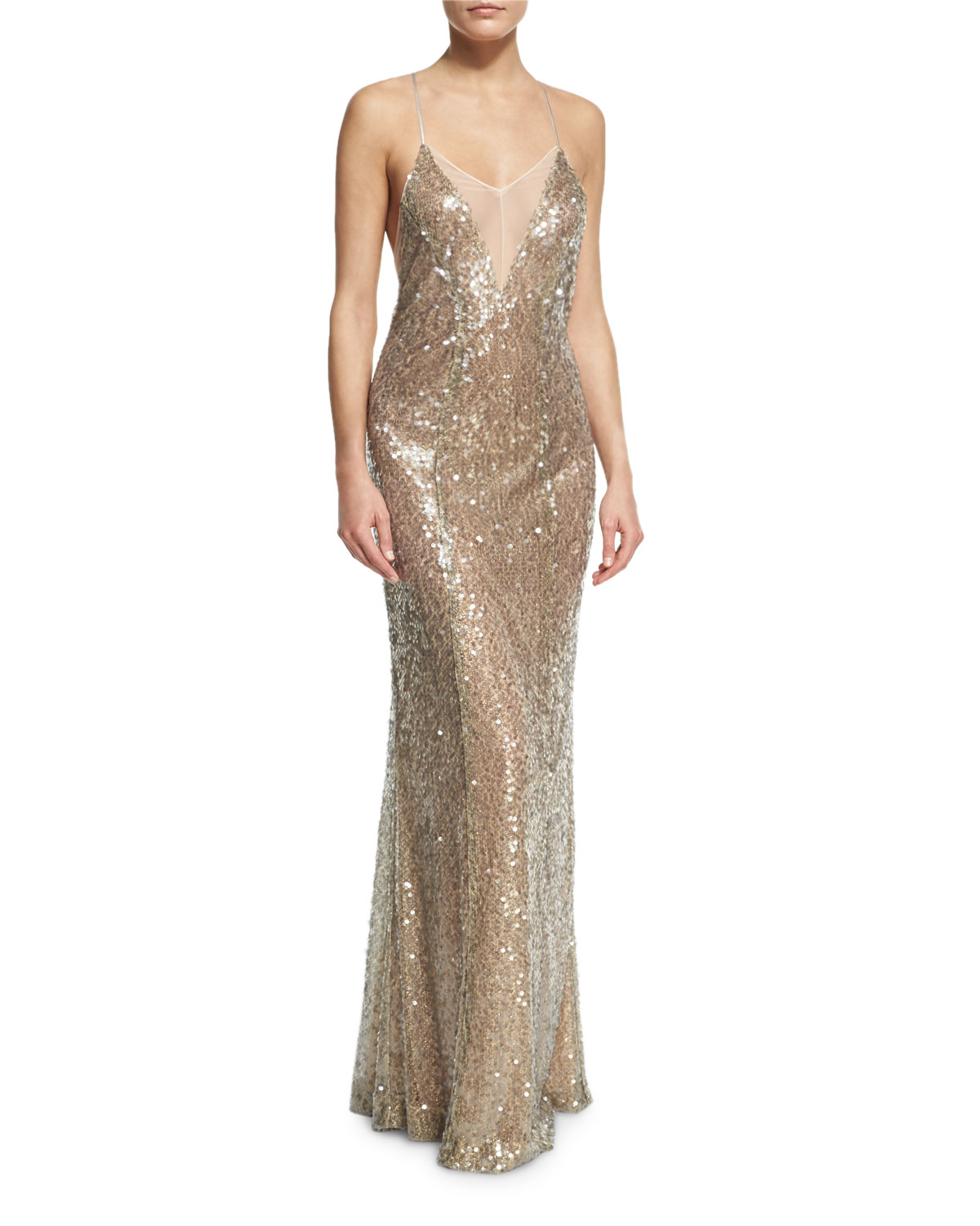 Sequined Cami Gown, Champagne