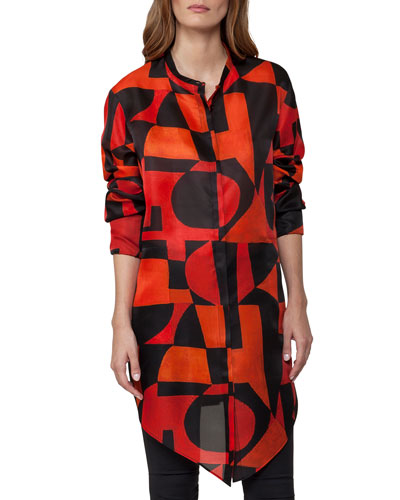 Geometric-Print Organza Tunic, Red/Black