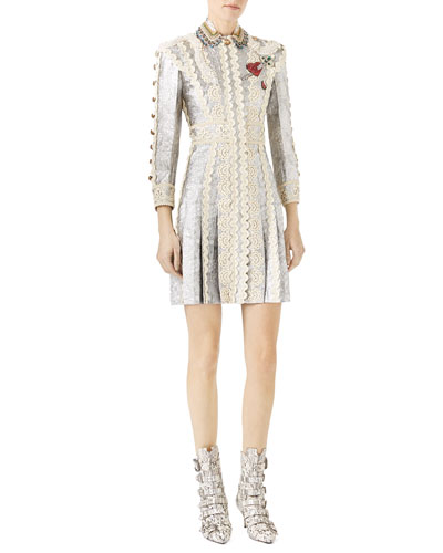 Long-Sleeve Metallic Brocade Dress with Lace Details, Silver