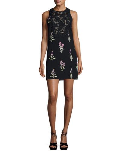 Embroidered Floral Shift Dress, Black
