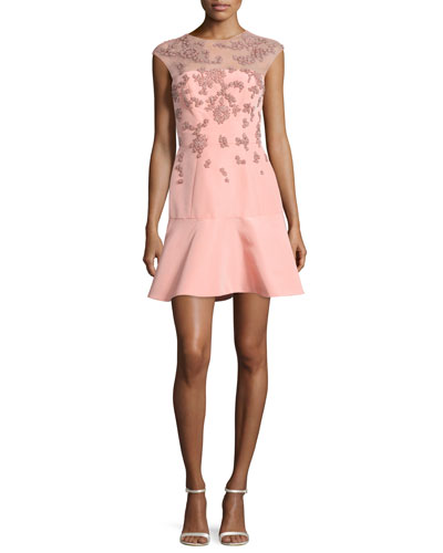 Beaded Cap-Sleeve Illusion Dress, Rose Pink
