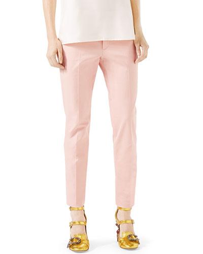 Ottoman Cotton-Stretch Pants, Petal