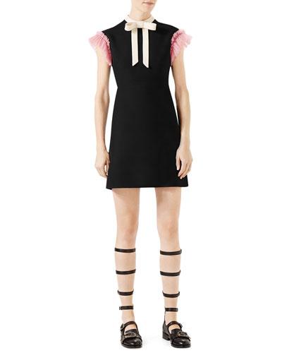 Cady Crepe Dress w/Ruffle Sleeves, Black/Multi