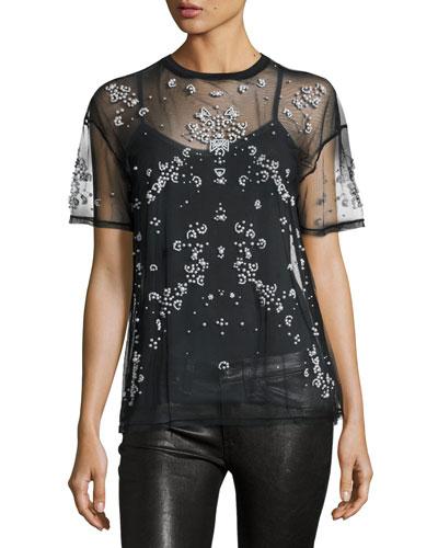 Kebede Embellished Mesh T-Shirt, Black