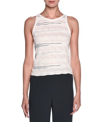 Sleeveless Textured Knit Top, White/Black