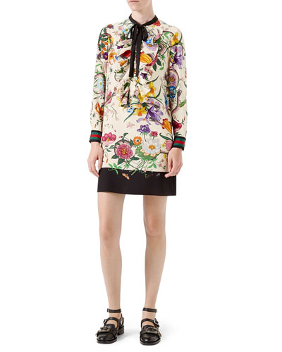 Floral-Print Silk Dress, Black