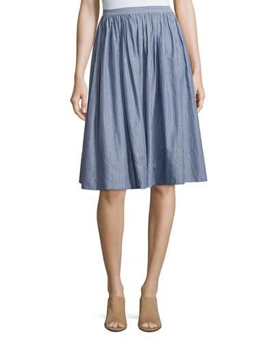 Pencil-Stripe Shirred Full Skirt, Blue/White