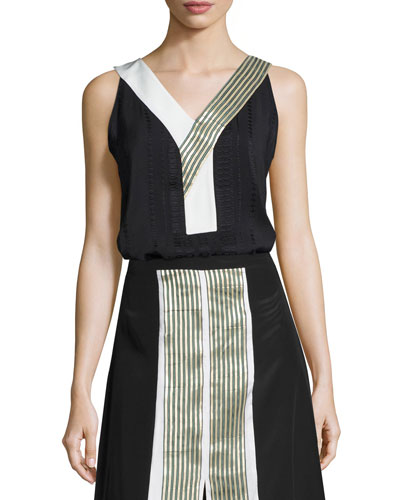 Niobe Sleeveless Textured Stripe Top, Black
