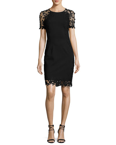 Yadira Crochet-Trim Sheath Dress, Black