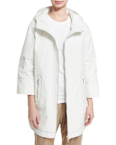 3/4-Sleeve Taffeta Raincoat