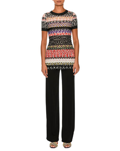 Knit Short-Sleeve Tunic Top, Multi