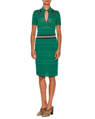 Knit Short-Sleeve Polo Dress, Green