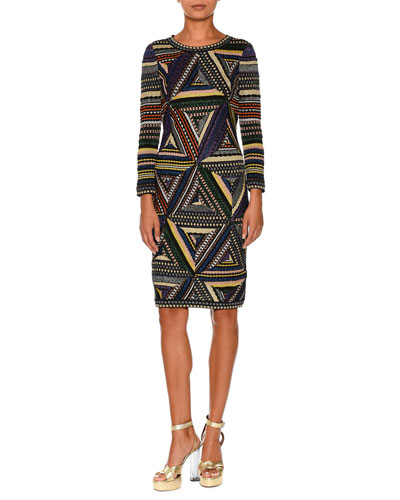 Patchwork-Knit Long-Sleeve Dress, Multi