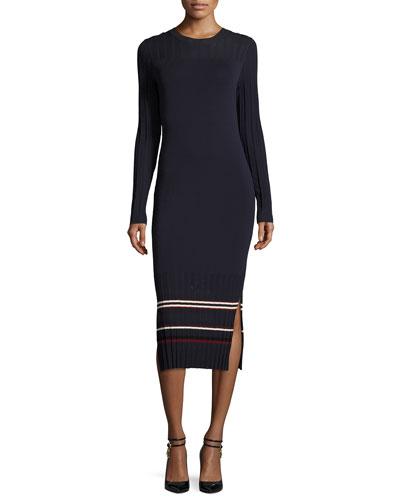 Long-Sleeve Stretch Jersey Midi Dress, Midnight