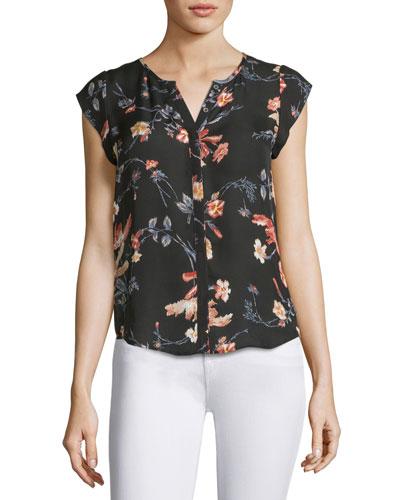 Iva Floral-Print Cap-Sleeve Silk Blouse, Black