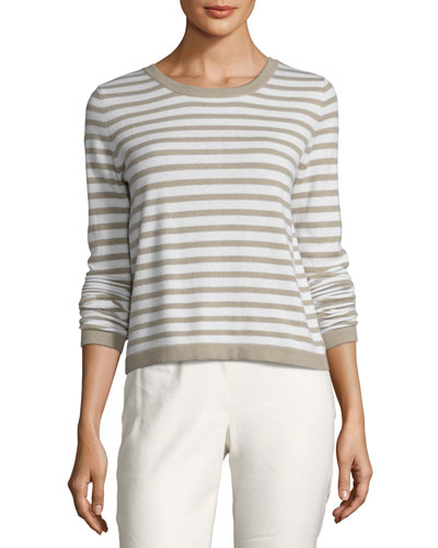 Striped Back-Button Cashmere Sweater