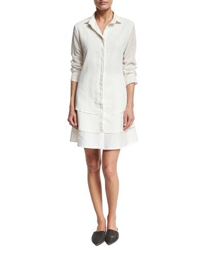 Organza Silk & Poplin Shirtdress, White