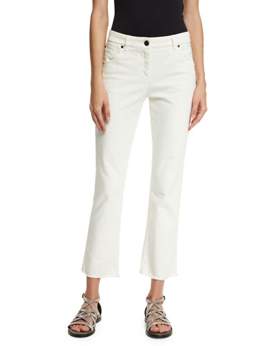 Cropped Frayed Denim Jeans, White