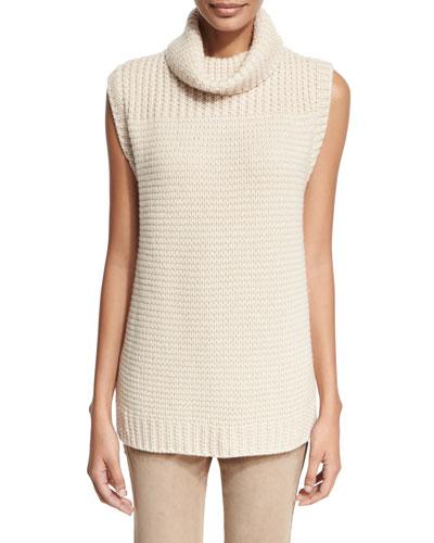 Knit Cashmere Turtleneck Sweater, Sand