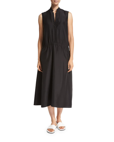 Ruched Drop-Waist Sleeveless Midi Dress, Black