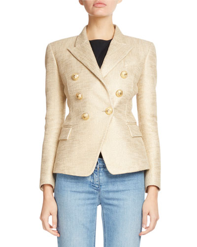 Classic Double-Breasted Tweed Blazer, Gold