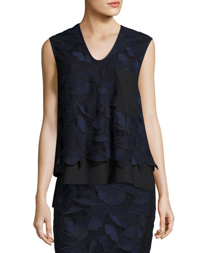 Sleeveless Layered Floral Lace Top, Blue