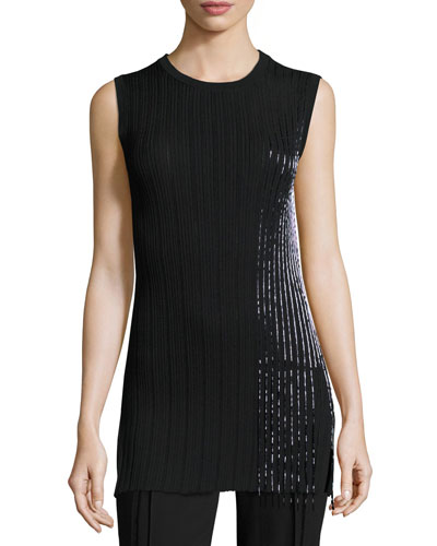 Sleeveless Ribbed Fringe-Trim Top, Black