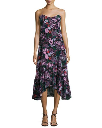 Inga Floral-Print Sleeveless Midi Dress, Black/Multicolor